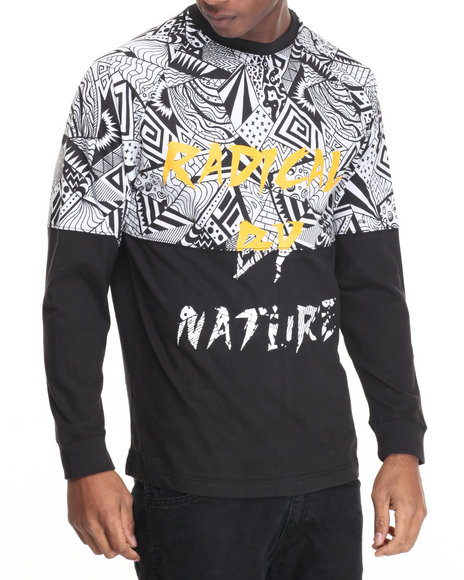 Basic Essentials - Men Black Radical Printed Crewneck Sweatshirt