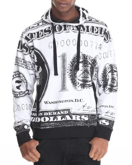 Buyers Picks - Men White Dollar Bill Y'all Printed Fleece Pullover Hoodie