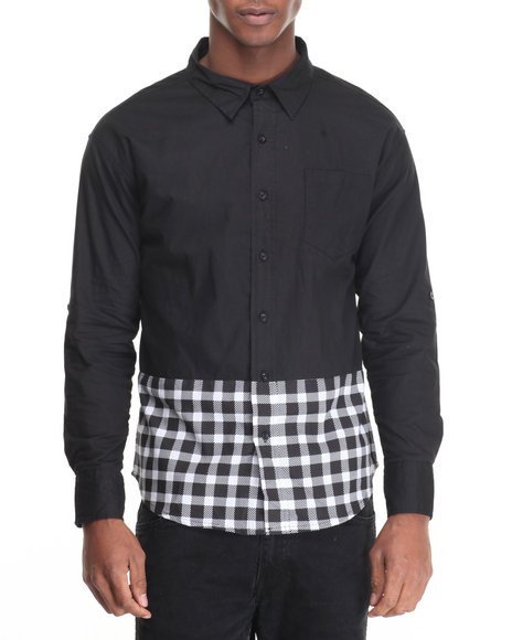 Buyers Picks - Men Black Color Block Plaid Buttondown