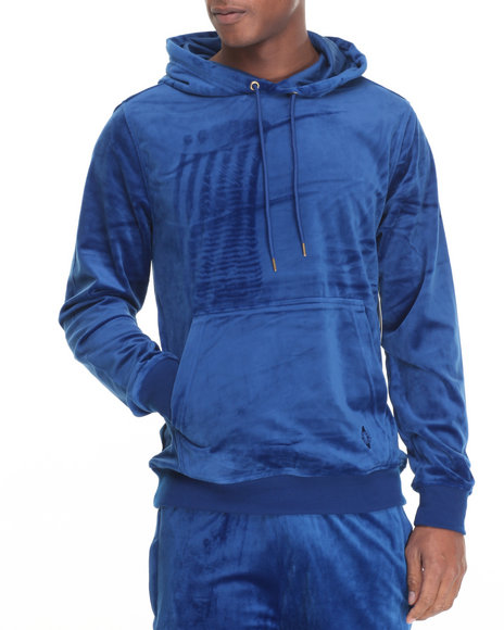 Akademiks Men West Velour Pullover Hoodie Blue X-Large