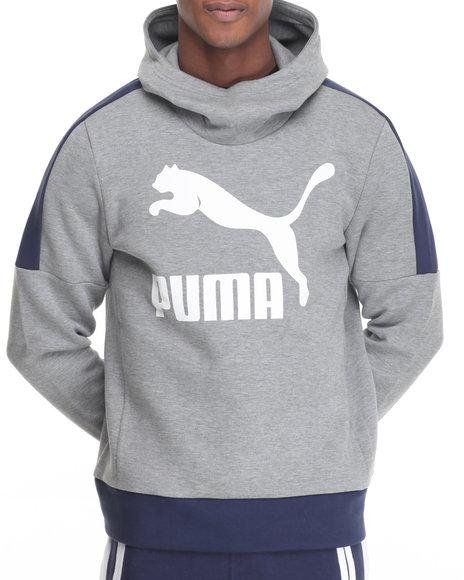 Puma - Men Grey Logo Cowl Neck Pullover Hoodie - $64.99
