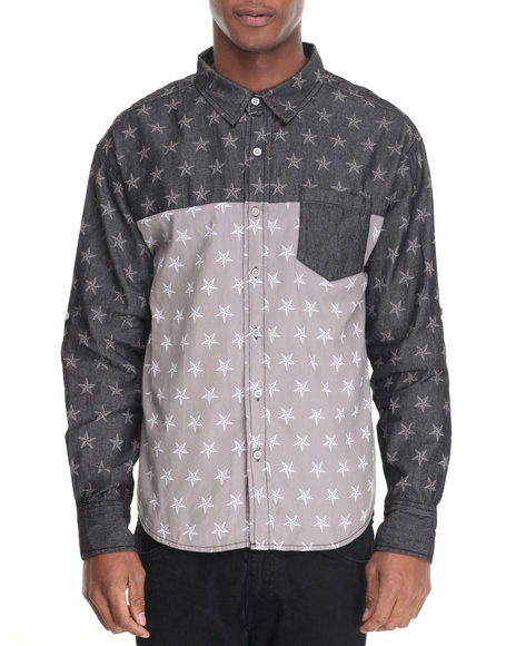 Buyers Picks - Men Black / Smoke Acid Denim Allover Star Buttondown