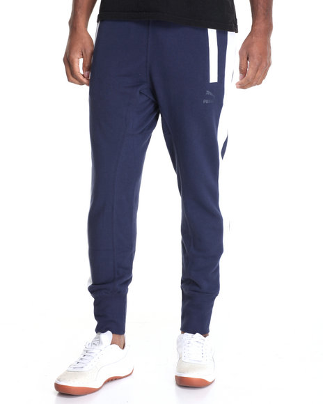 Puma - Men Navy Puma Fitted Sweatpants