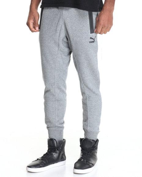 Puma - Men Grey Puma Fitted Sweatpants