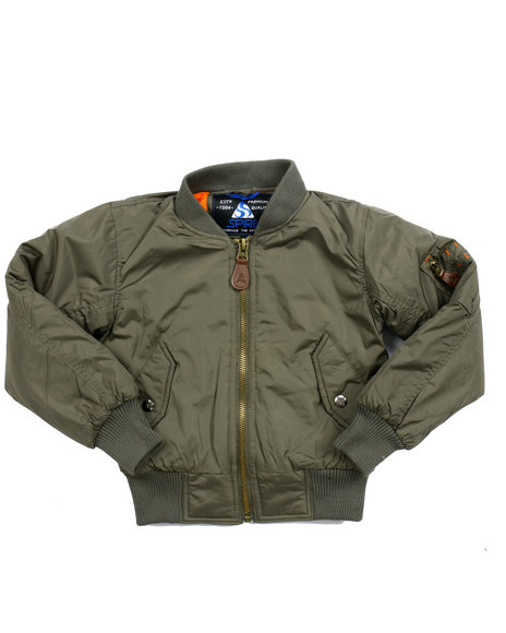 Arcade Styles - Boys Olive Ma-1 Aviator Flight Jacket (4-7)