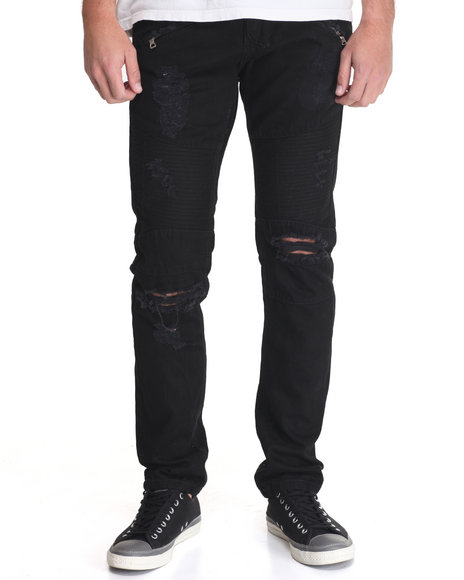 Buyers Picks - Men Black Damage & Repair Slim - Straight Moto - Style Denim Jeans