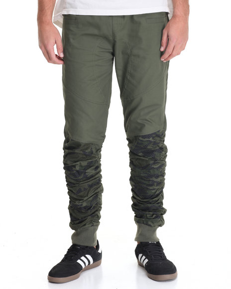 Buyers Picks - Men Olive American Stitch Contrast - Panel Bungee Twill Jogger
