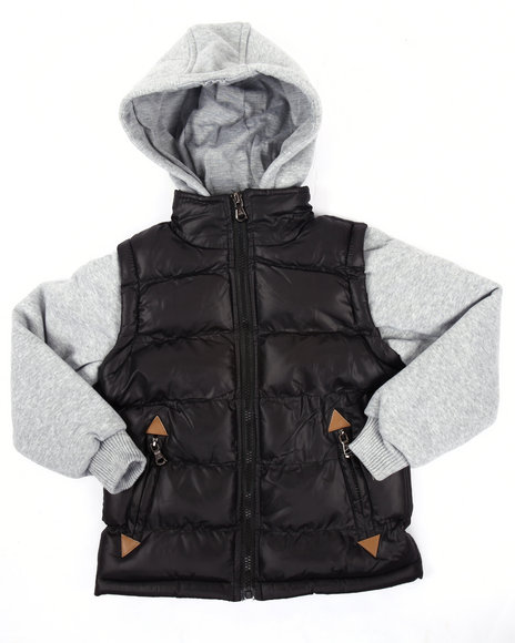 Arcade Styles Boys Mountainer Bubble Vest W Knit Hood & Sleeves (47) Black Small