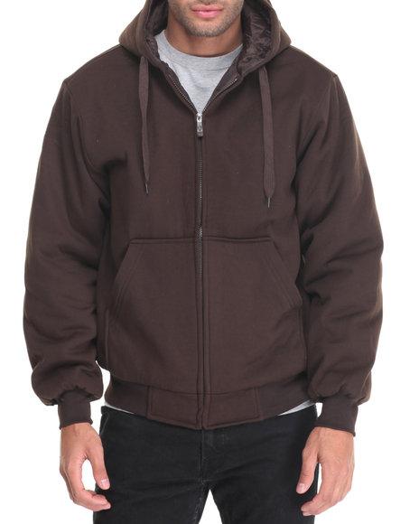 Basic Essentials - Men Brown Quilt-Lined Fleece Hoodie