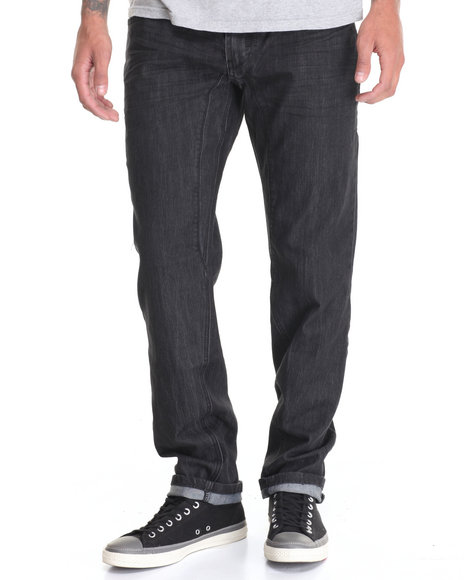 Buyers Picks Men Twist Seamed Denim Pant W Contrasted Zipper Back Black 40x32