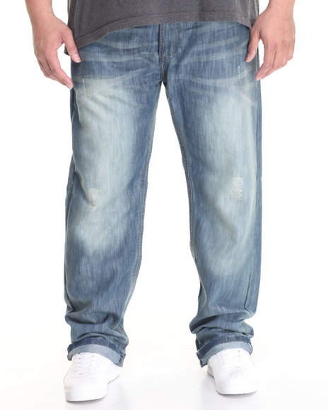 Basic Essentials - Men Medium Wash Blue Nile Slim - Straight Denim Jeans