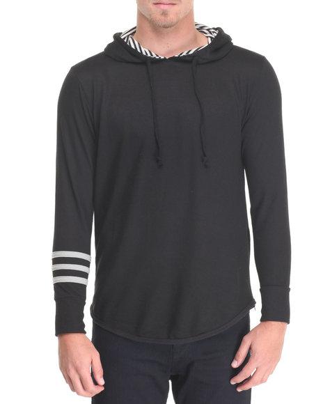 Buyers Picks - Men Black Stripe Hoodie W Side Zip Detail
