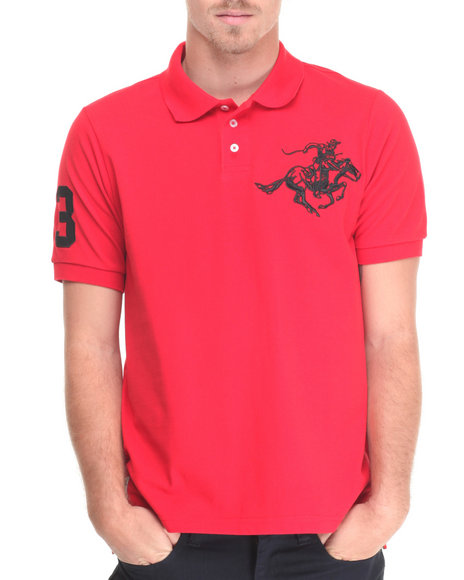 Winchester - Men Red Colt Logo Embo Solid Pique Polo