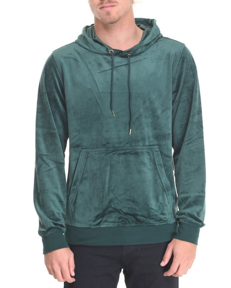 Akademiks Men West Velour Pullover Hoodie Green X-Large