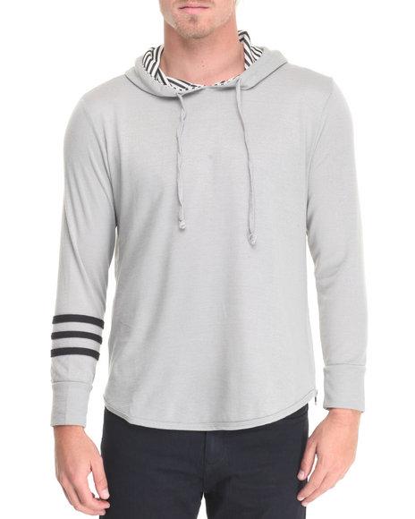Buyers Picks - Men Light Grey Stripe Hoodie W Side Zip Detail