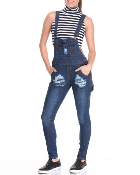 Basic Essentials - Women Indigo Destructed Denim Overall