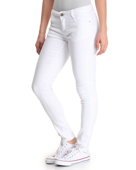 Basic Essentials - Women White Favorite 5 Pkt Stretch Skinny Jean