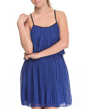 Women - Blues Chiffon Pleated Dress
