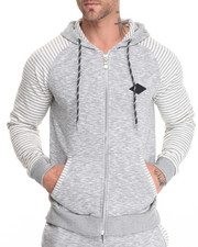 Men - Contrast Stripe Zip up Hoodie