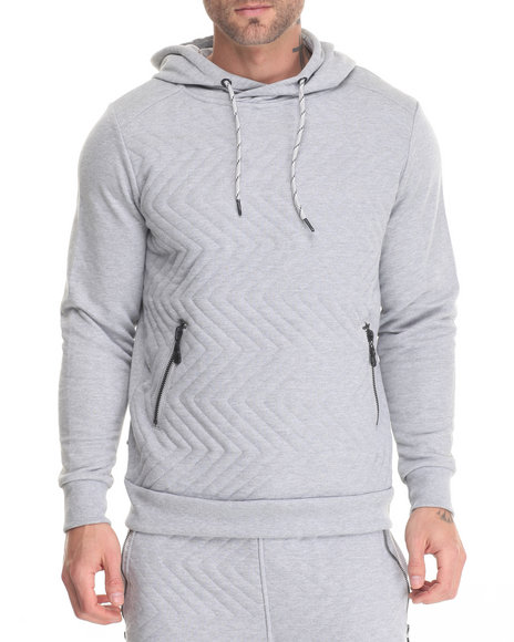 Shades Of Black - Men Light Grey Quilted Zig Zag Hoodie
