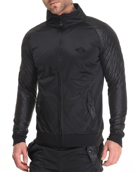 Shades Of Black - Men Black Diamond Quilt Track Jacket