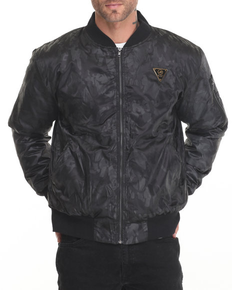 Mint - Men Black Mint Ma1 Satin Camo Bomber