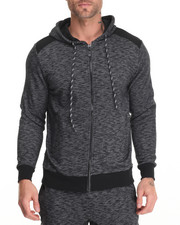 Men - Quilted Zip Hoody w Nylon Detail