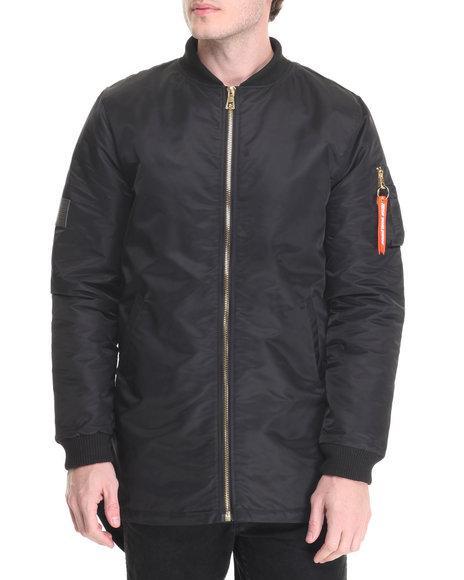 Hudson Nyc - Men Black Tonal Fishtail Flight Jacket