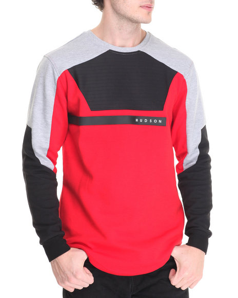 Hudson Nyc - Men Red Chest Ribbing L/S Tee