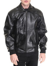 Outerwear - Classic Applique Em- bossed Leather Jacket