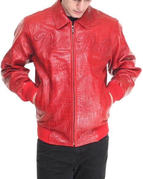 Pelle Pelle Leathers Men Varsity Script Leather Jacket Red 40