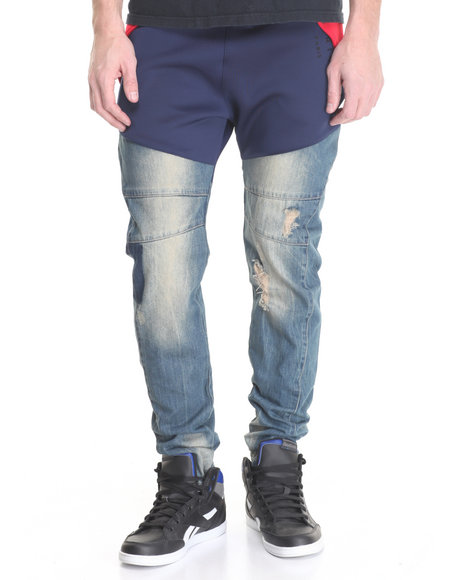 Vie + Riche - Men Medium Wash,Navy Runner 4.0 Hybrid Fleece / Denim Joggers