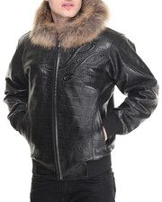 Pelle Pelle Leathers - Neoprene Croc Ap- plique Embossed Fox Fur Hooded Leather Jacket
