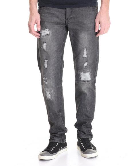 Winchester - Men Black Wash Woods Rip & Repair Denim Jeans