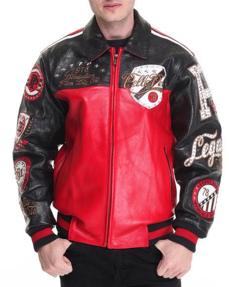Pelle Pelle Leathers Men Revolution Large Croc Leather Jacket Red 40