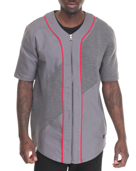 Hudson Nyc - Men Grey Terry Zip - Up Baseball Jersey
