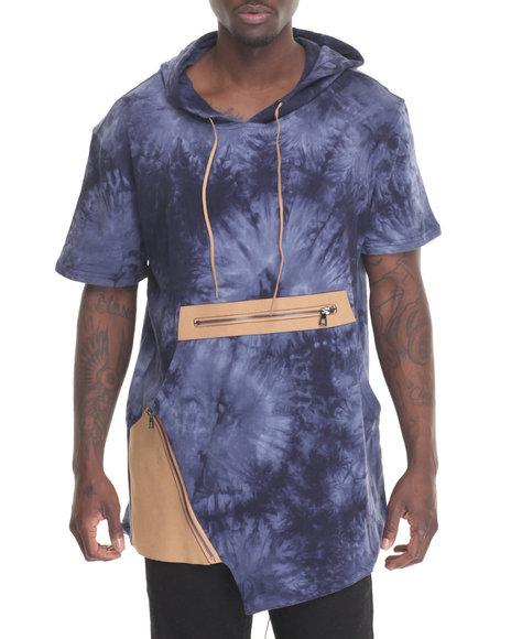 Hudson Nyc - Men Blue Denim Knit Hooded Fishtail Shirt