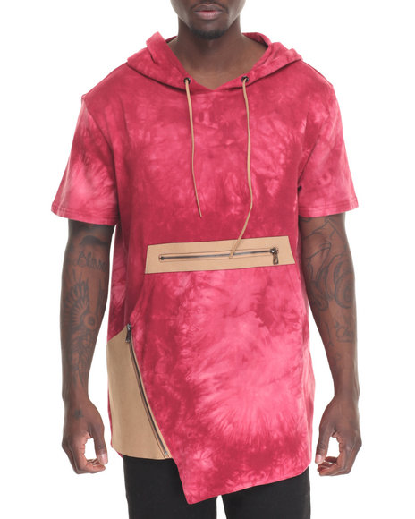 Hudson Nyc - Men Red Denim Knit Hooded Fishtail Shirt
