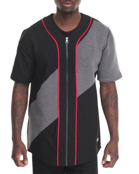 Hudson Nyc - Men Black Terry Zip - Up Baseball Jersey