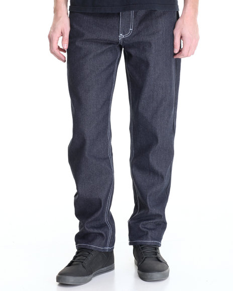 Akademiks Men Monroe Raw Denim Jeans Dark Indigo 40x34