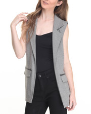 Vests - Julie Pocketed Long Ponte Vest