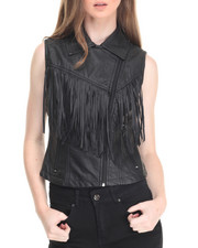 Vests - Sleeveless Fringe Trim Vest