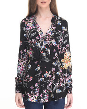 Women - Floral Zip Trim Belted Tunic