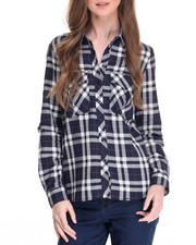 Tops - Yarn Dye Plaid Roll Sleeve Shirt
