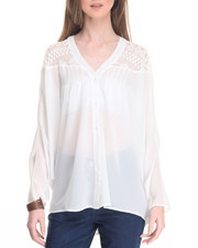 Women - Lace Trim Batwing Top