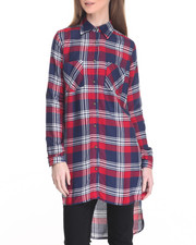 Women - Yarn Dye Plaid Roll-Sleeve Woven Duster