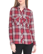 Polos & Button-Downs - Yarn Dye Plaid Roll Sleeve Shirt