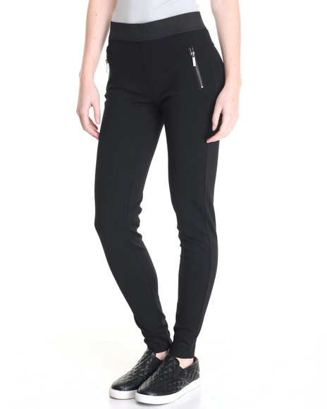 Versace 19.69 - Women Black Tara Zipper Pockets  Ponte Legging