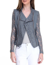 Outerwear - Lace Insert Zip Trim Moto Jacket