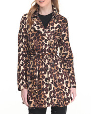 Women - Leopard Print Self-Belt Trench Coat